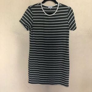 Tobi Gray White Stripe Bodycon T-Shirt Dress